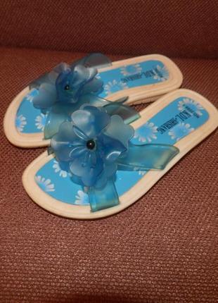 Голубые шлепки, шлепанцы стелька 17.5-18.5 см
