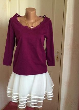 Блуза элегантная с красивым декольте laura ashley,размер 36/38