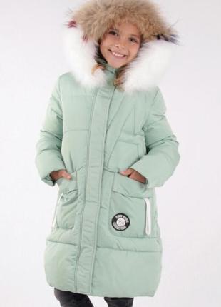 130-170 зимнее полу-пальто anernuo для девочки теплое и красивое