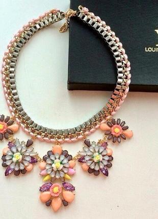 Колье ожерелье украшение на шею массивное цветы