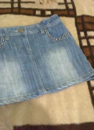 Джинсовая мини юбка на 9-10 лет