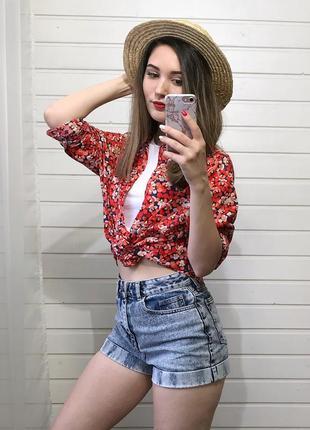 Хлопковая рубашка в цветочный принт h&m