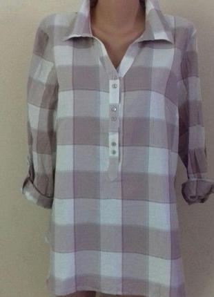 Блуза-рубашка в клетку большого размера