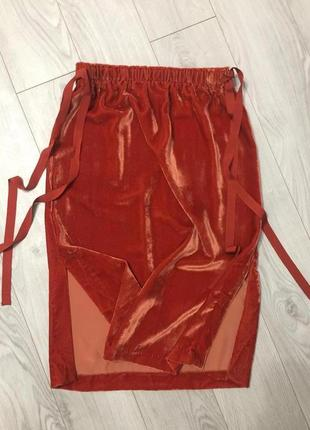 Шикарная бархатная юбка миди с завязками