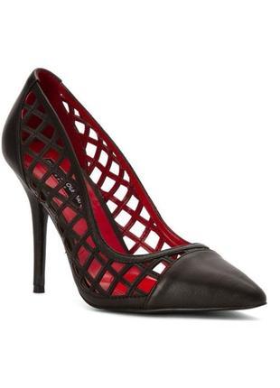 Charles jourdan оригинал черные кожаные лодочки туфли на шпильке бренд из сша