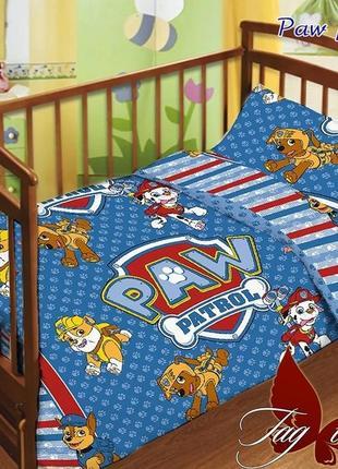 Комплект постельного белья детский в кроватку tag патруль, выбор расцветок большой