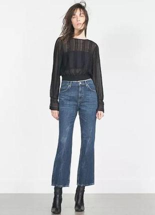 Модные расклешенные укороченные джинсы zara