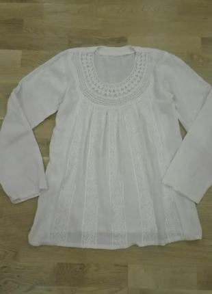 Натуральна льняна блуза, розмір м, ручна робота