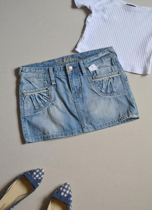 Распродажа!!! короткая джинсовая юбка мини p.s-m 100% коттон fishbone