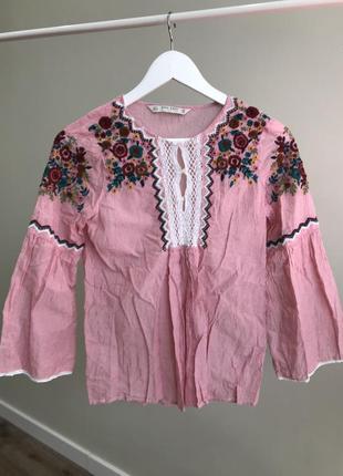 Блузка/рубашка zara с вышивкой