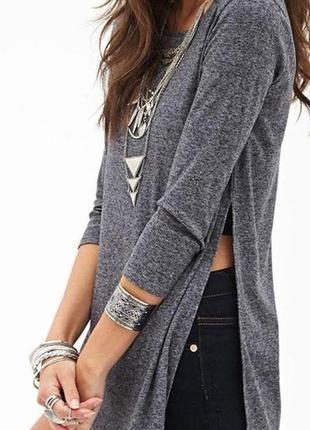 Вязаное платье туника в рубчик с разрезами по бокам прямого кроя new look с рукавом