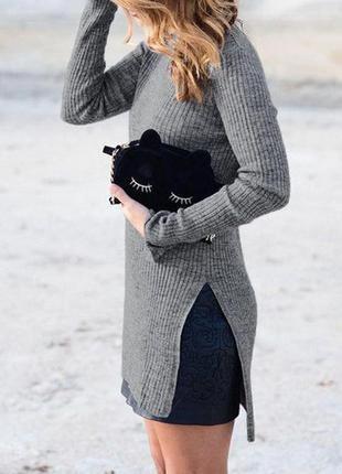 Вязаная туника платье в рубчик с разрезами по бокам прямого кроя new look футболка