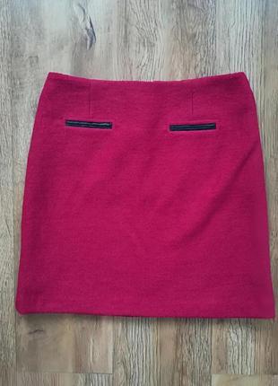 Шерстяная юбка темно розового цвета marks&spencer