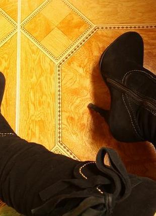 Суперные вечерние высокие замшевые черные зимние сапоги basconi на каблуке