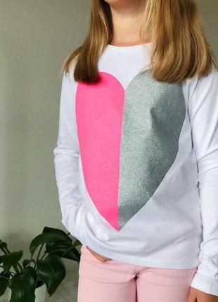 Дитяча біла кофта детская белая блуза яркое блистящее сердце на девочку 7 - 8 лет