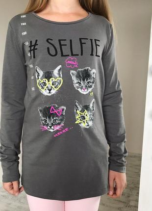 Крутая детская блуза с котёнком на девочку152 см детская одежда