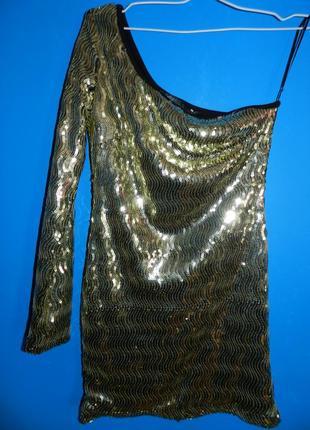Коктейльное платье золотое в паетки короткое мини