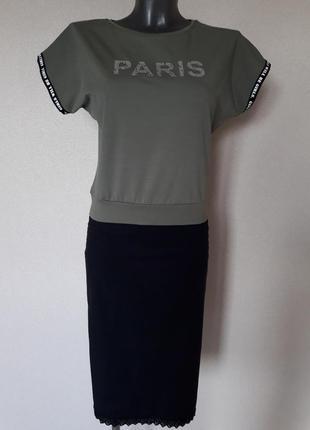 Мега-красивая,модная укороченная оливковая футболка-блуза, без рукавов,на поясе