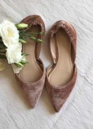 Лодочки туфли балетки с острым носком h&m