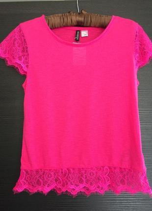 Розовая футболка h&m