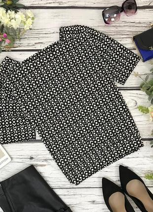 Женственная блуза с черно-белым принтом и акцентом на спинке  bl1831124  next