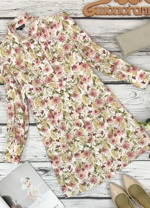 Женственное платье с длинным рукавом и цветочным принтом  dr1831081  topshop