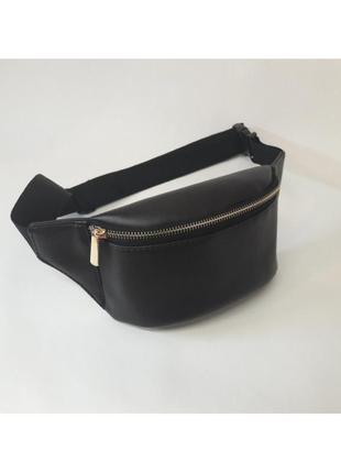 Стильная черная поясная сумка бананка экокожа