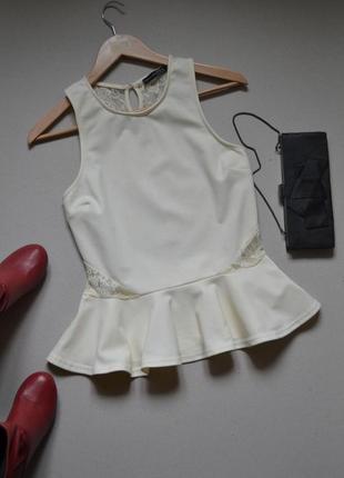 Очень красивая блузка с баской и кружевной спинкой p.l-xl atmosphere