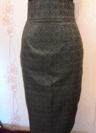 Шикарная юбка футляр под золото !