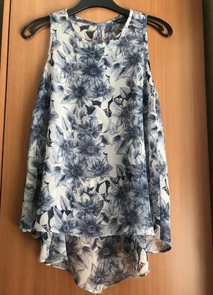 Шифоновая блуза ассиметрия в цветах