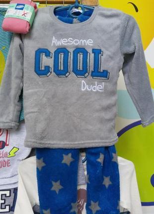 Детская пижама, мягкая, теплая. 92-98см, на 2/3 года