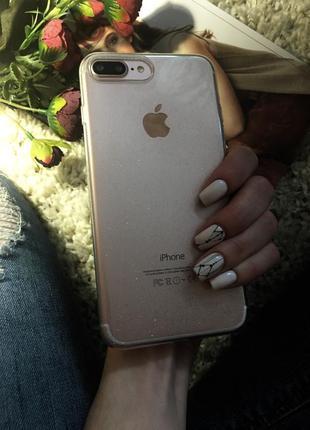 Очень красивый прозрачный  блестящий чехол на iphone 7 plus 8 plus