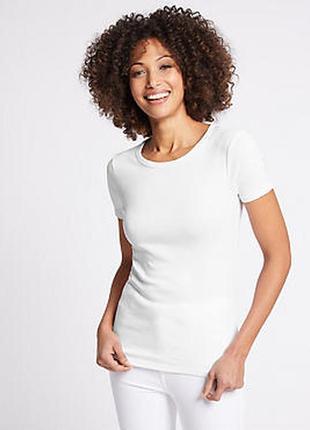 Базовая хлопковая белая футболка  от marks&spencer, размер 50 - 52
