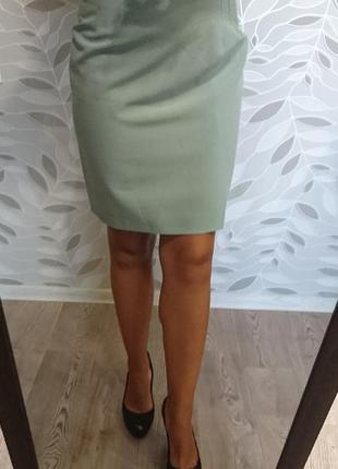 Фисташковая теплая юбка