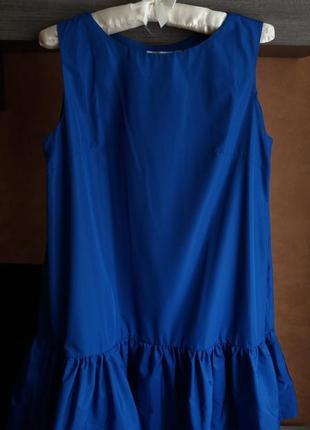 Синее летнее платье модного фасона