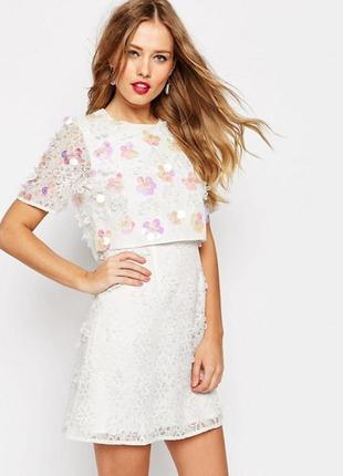 Красивое белое платье с вышивкой и пайетками от asos, 10 р. новое! с этикетками.