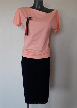 Эффектная стрейчевая абрикосовая секси-футболка на одно плечо pink daisy,one size