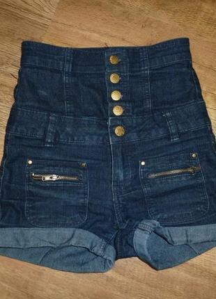 Джинсовые шорты с высокой талиейна 10 лет new look