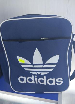 Синяя мужская подростковая сумка рюкзак через плечо adidas