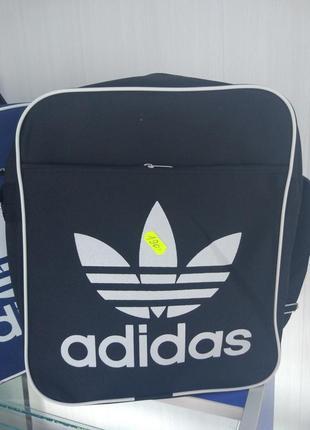 Чёрная мужская сумка рюкзак подростковая мужская adidas