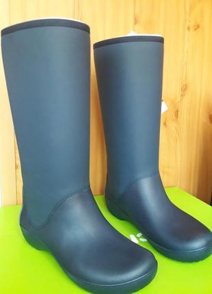 Сапоги кроксы crocs rainfloe. оригинал. утепленные, размер w8