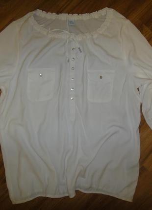 Блузка белоснежная свободный крой msmode р. 52-54 (48) вискоза полиестер