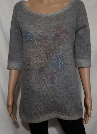 Джемпер женский пуловер рукав 3/4 свитер miss miss кофта m l xl