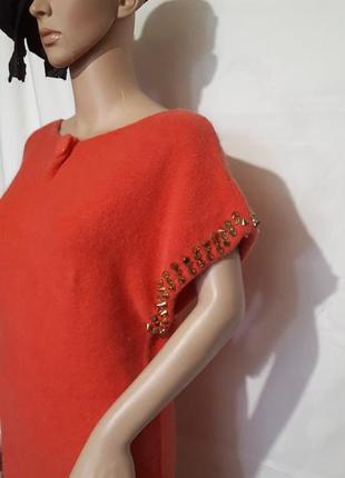 Платье женское кашемир лососевого оттенка с шипами2