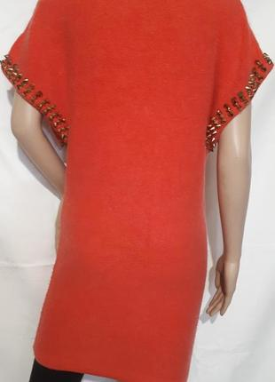 Платье женское кашемир лососевого оттенка с шипами4