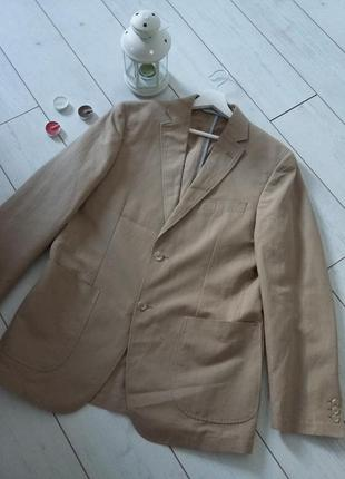 Стильный мужской коттоновый пиджак в цвете camel...#00325