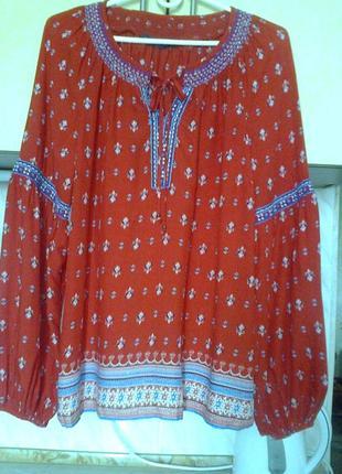 Фирменая эко блуза - принт вышиванка, индия, модал, отделка тесьмой