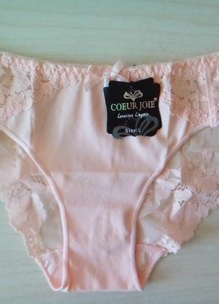 Трусы женские труси персиковые розовые кружевные слипы coeur joie