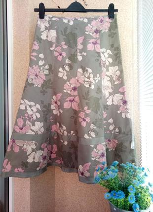 Юбка миди из натуральной ткани в цветочный принт