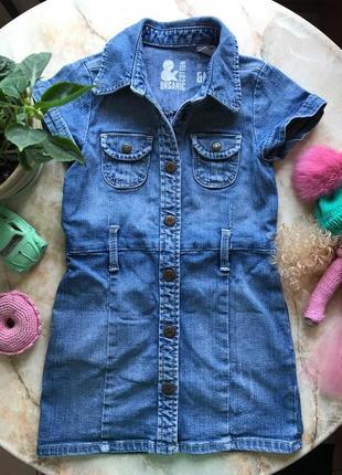 Стильное джинсовое платье из органического хлопка фирмы h&m размер 104